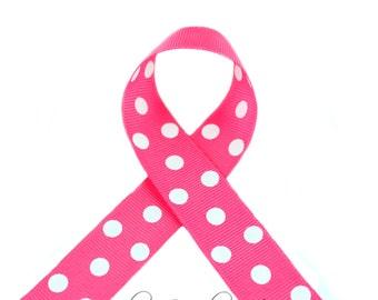 Passion Fruit Polka Dots 7/8 inch Polka Dot Grosgrain Ribbon - Polka Dot Ribbon, Polka Dot Hair Bow, Polka Dot Bow, Ribbon By The Yard