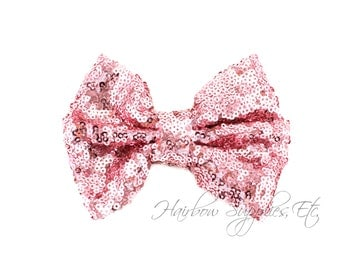 Pink Large Sequin Bows 4 inch Bows - Bow Applique, Sequin Bow, Large Bows, Big Bows, Wholesale Bows, Sequin Bow Tie, Sequin Bow Headband