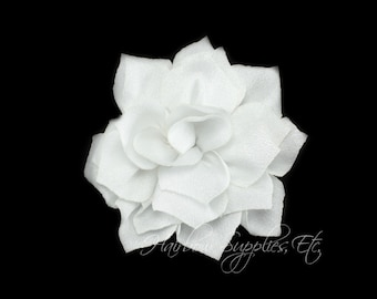 White Lotus Flowers 3 inch - White Fabric Flowers, White Flower Headband Baby, White Flower Heads, White Headband, White Hair Flowers