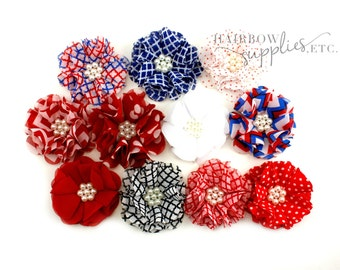 July 4th Chiffon Scalloped Flowers 2 inch - 4th of July Flowers, Red White And Blue Flowers, Patriotic Flowers, July Fourth, Fourth of July