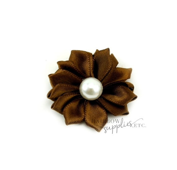 Brown Dainty Star Flowers with Pearl 1-1/2 inch - Brown Fabric Flowers, Brown Silk Flowers, Brown Hair Flowers, Brown Flowers for Hair