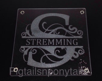 Custom glass etched cutting board