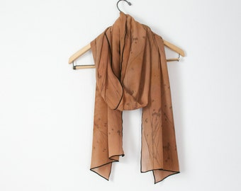 warm taupe to potter's clay large hand dyed and printed silk chiffon scarf or wrap with olive native sunflower seed pods and black edges