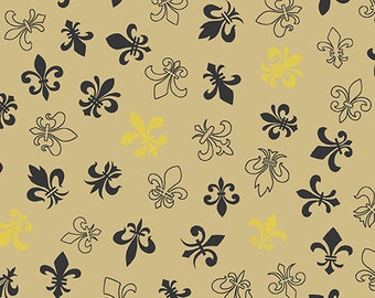 Fleur de Lis Gold and Black Metallic by Andover