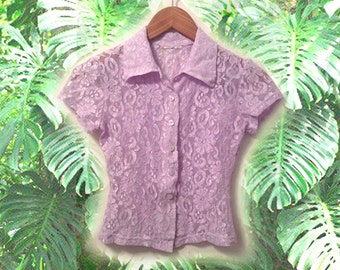 90s Pastel Lilac Lavendar Stretch Lace Short Sleeve Button Up Blouse size Small