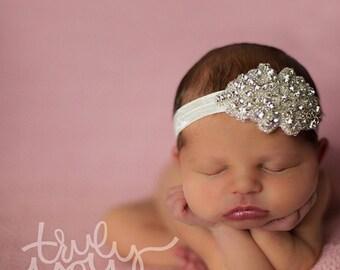 Diamond Headband - White - Statement Piece Headband - Baby Headband - Flower Girl Headband - Baby Photography - Sparkle Headband