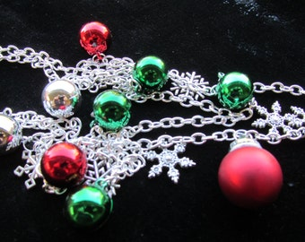 Two Tier Christmas Snowflake ornament Necklace Pendant A 10