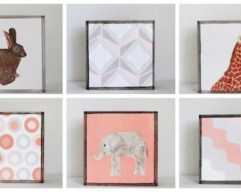 pink nursery art, geometric prints, animal prints,  Choose (6) SIX of our Custom Designs 5x5, childrens room decor, art block, redtilestudio