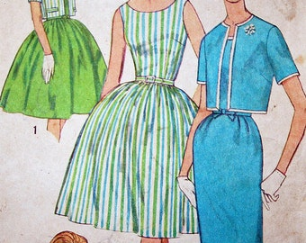 Vintage 1950s Dress with Two Skirts and Jacket Sewing Pattern Simplicity 3929 Size 14 Bust 34 Cut and Ready Simple to Make