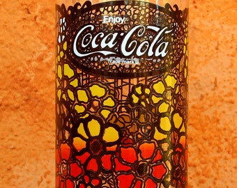 Retro Floral Coca Cola Glass Maui Style Flowers