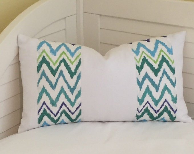 Lilly Pulitzer Chev On It in Shorely Blue for Lee Jofa and  Kravet White Linen Lumbar Designer Pillow Cover