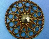 Antique Vintage Button Victorian Steel Cuts Button Large Button 376