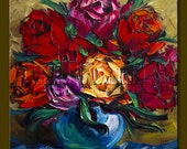 Roses Floral Original Painting Textured Palette Knife Oil on Canvas Contemporary Modern Art 16X16 by Willson Lau