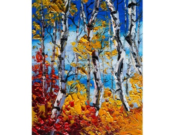 Autumn Landscape Painting Birch Tree Forest Oil on Canvas Textured Palette Knife Modern Original Art 8X10 by Willson Lau
