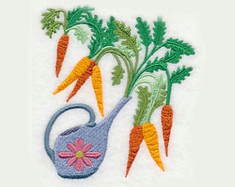 Watering Can Carrots Tea Towel | Embroidered Kitchen Towel | Hand Towel | Embroidered Towel | Embroidered Tea Towel | Personalized Kitchen