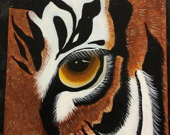 Handpainted Ceramic Siberian Tiger Eye on Tile