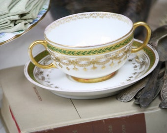 Antique French Cream Soup Cup & Saucer Bouillon Hunter Green Gold JPL France Elegant Shabby Chic Wedding Mix N Match