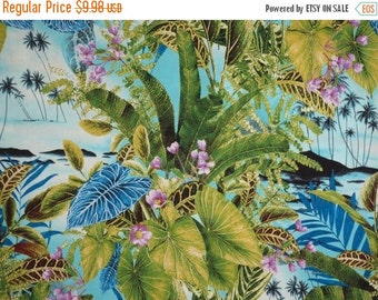 ON SALE Green and Blue Tropical Leaves Print Pure Cotton Fabric--One Yard