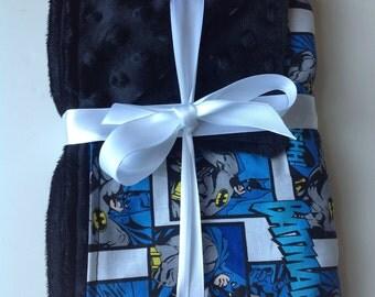 "Batman Superhero minky fleece baby blanket 26""x28"""