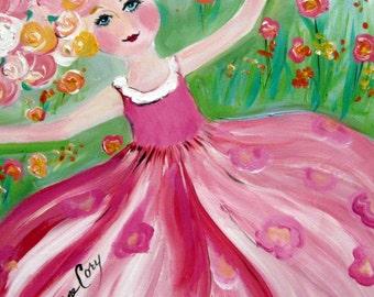 Girl dancing Original Painting canvas art 16 x 20 Art by Elaine Cory