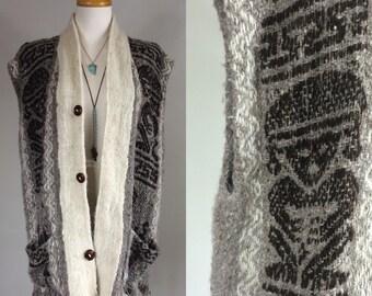 70s Boho Shrug / Vintage Boho Vest / Vintage 1970s Boho Wool Vest / Vintage Boho Lama Vest / Vintage 70s Boho / Vintage 1970s Boho / 1970s