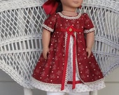 Historical Regency Era Empire Afternoon Holiday Dress -Handmade to Fit 18 Inch Dolls Like American Girl Dolls