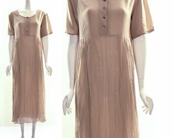 Vintage 90s DONNA KAREN Beige Silk Crinkle Maxi Dress MINIMALIST Grunge Sheer Gauzy Baby Doll Maxi Dress Small Medium