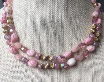 Signed Vendome Pink Double Strand Necklace, Vintage Vendome Jewelry, Estate Jewelry,