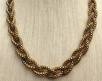 Vintage Freirich Jewelry, Braided Rope Chain, Chunky Gold Necklace, Estate Jewelry, Costume Jewelry, Elegant Rope Chain