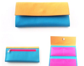 Turquoise Vegan Wallet Women - Aqua womens clutch wallet - leather IPhone Wallet - credit card  holder - Handmade Italy by Pitti Vintage