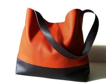 Orange hobo bag - Vegan leather shoulder bag - slouchy bag - vegan bag - orange handbag - summer bag - handmade bag - orange bag