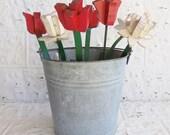 Vintage Wooden Garden Tulips . Bobble Head Spring Flowers . Think Spring