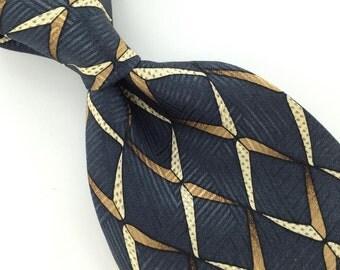 Henry Grethel US Made GEOMETRIC Steel/BLUE Brownsilk Men Necktie I1-597  Excellent Vintage Corbata Krawatte Cravatta Cravate