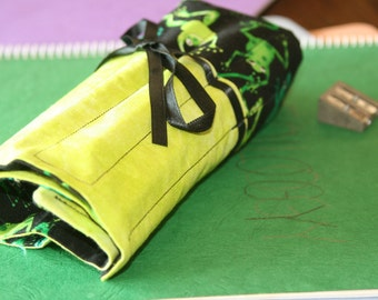 Deluxe Pencil or Crochet Hook Roll/Case - Frogs or Toads in Greens and Black