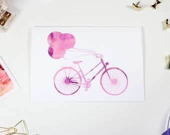 Stationery Bicycle Balloons Purple Watercolor // Set of 8 Folded Cards