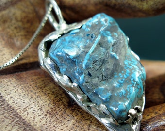 Turquoise Pendant with Sterling Silver Bail - Free Domestic Shipping to US