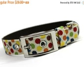 ON SALE Dog Collar with metal buckle- Confetti Dots