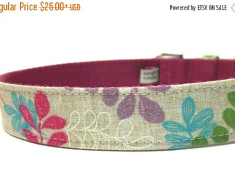 BIG SALE Floral Dog Collar with metal buckle- Colorful Vines and Leaves