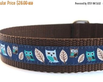 BIG SALE Navy Owl Dog Collar with Metal Buckle