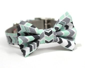 Dog Bowtie, Bow tie Dog Collar- Mint Green and Grey Chevron Stripes