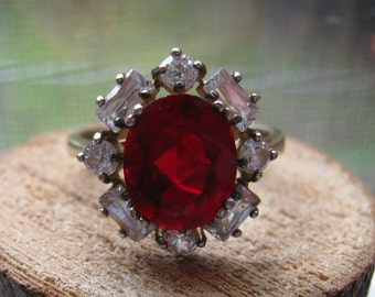 Gold Overlay Vintage Sterling Silver Ladies Women's Ring Size 9 Lab Created Garnet and Cubic Zirconia Stones