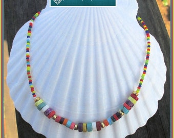 Multicolored Gemstone Chain Necklace, Her Stone Necklace, Her Beaded Necklace, Statement Necklace, Her Colorful Jewelry, Novelty Necklace