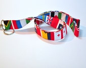 Fabric Lanyard  for ID -  Teacher  lanyard - United Nations world flags lanyard travel agent - geography professor  -  safety clasp optional