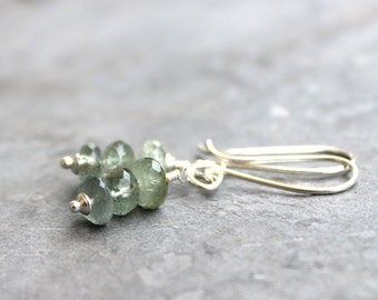 Moss Aqua Earrings Petite Aquamarine Sterling Silver Pale Blue Green Drop Gemstone Earrings