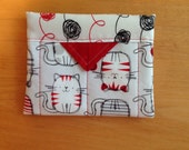 Cute Cats and Yarn Quilted Fabric Mini Snap Bag Purse Pouch