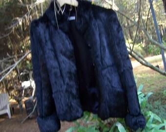 Awesome Vintage Black Rabbit Fur Coat Made in Korea
