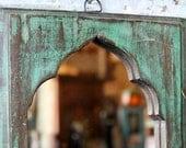 Mirror Reclaimed Vintage Indian Door Panel Wall Hanging Art Distressed Teal Green Mirror Moroccan Decor Turkish