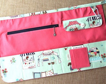 Vendor Apron, Utility Apron, Teacher Apron - Pink with Vintage Market, navy blue zipper - Ready to Ship