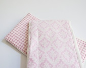 Pink & White Damask and Herringbone flannel baby burp rags or burp cloths