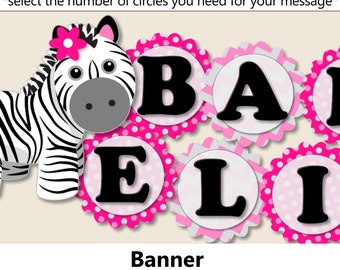 Pink Baby Girl Zebra Baby Shower BANNER, Zebra Birthday Party Decorations   Package, Invitation